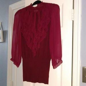 Burgandy light-weight sweater blouse